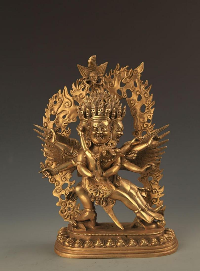 A FINE TIBETAN YAMANTAKA BUDDHA STATUE