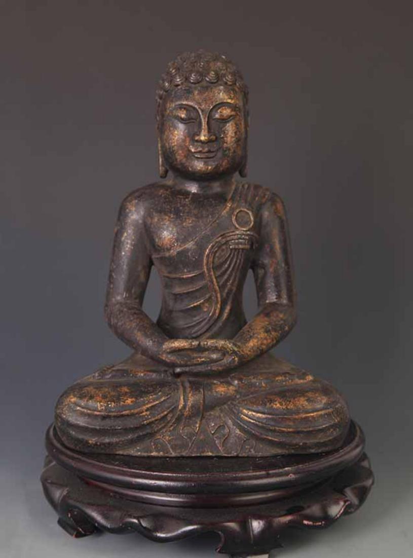 A FINE BRONZE TIBETAN SAKYAMUNI BUDDHA