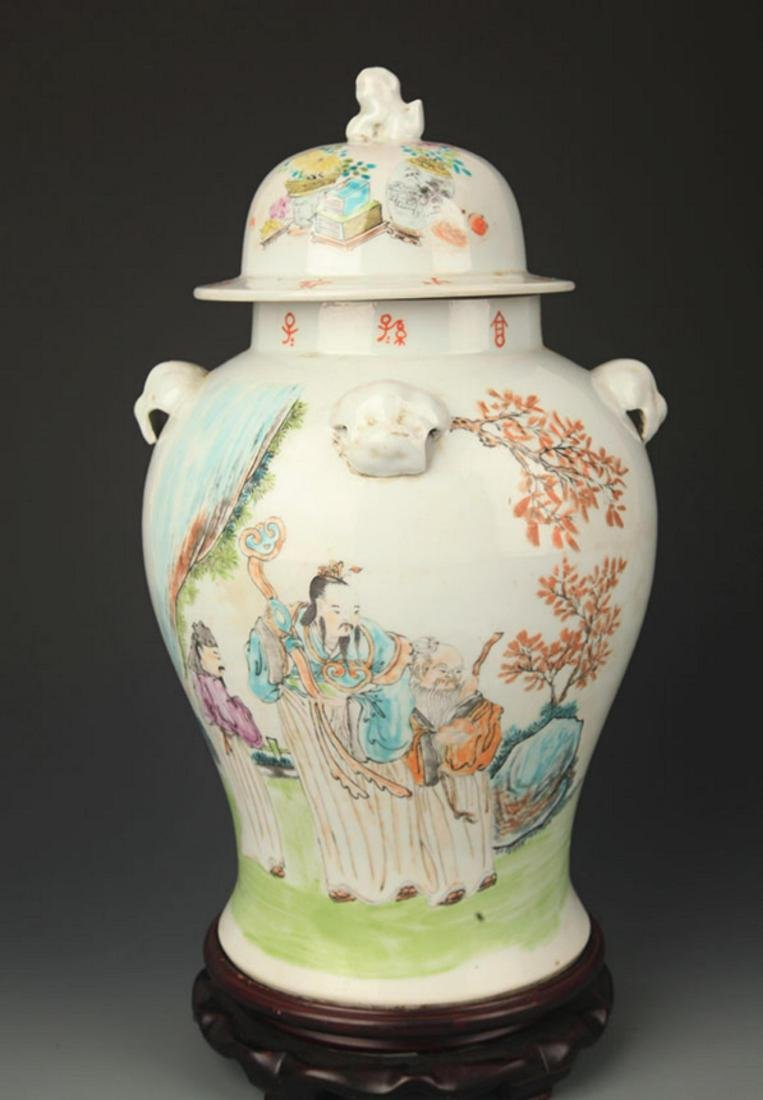 FAMILLE ROSE CHARACTER PATTERN GENERAL STYLE PORCELAIN