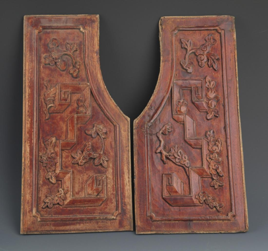 GROUP OF OLD FINELY CARVED WOODEN BOARD - 8