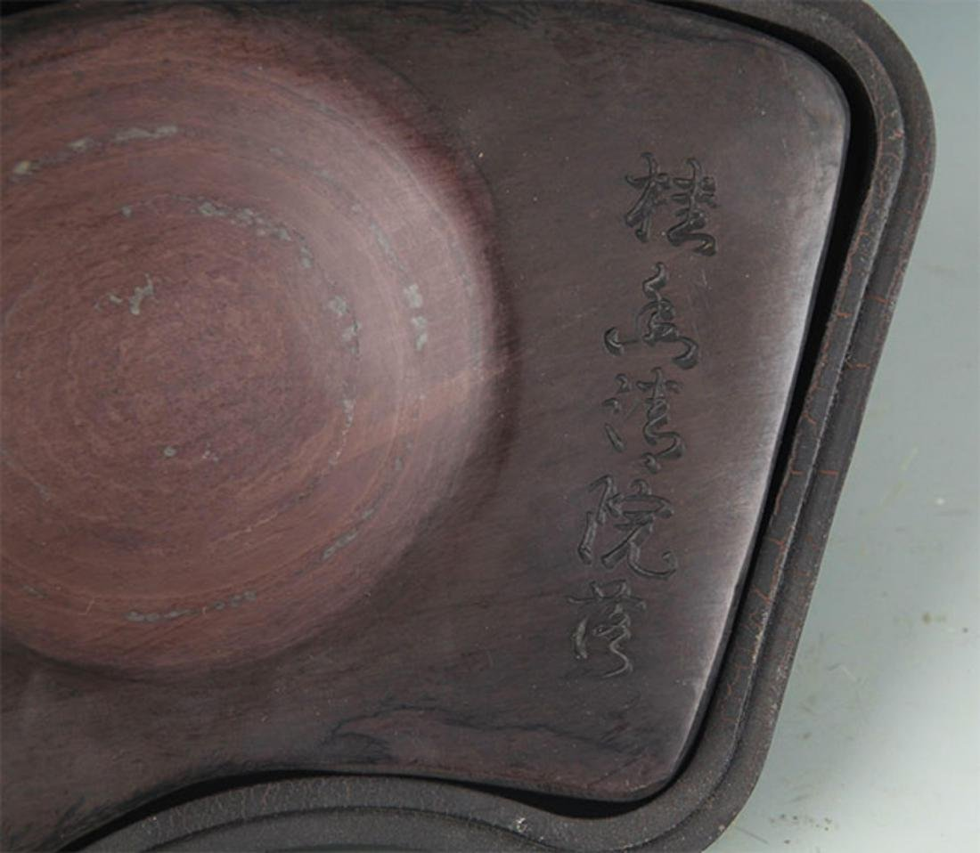 A FINE INK STONE WITH WOOD BOX - 4