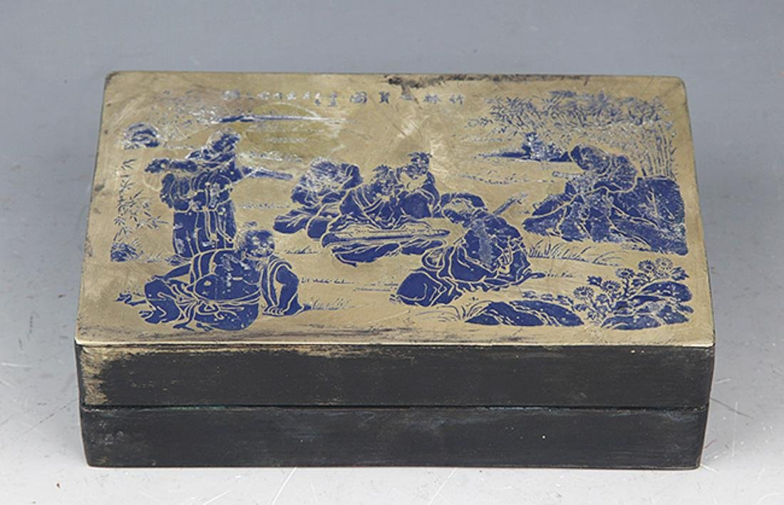 A BLUE COLOR STORY CARVING BRONZE INK BOX - 3