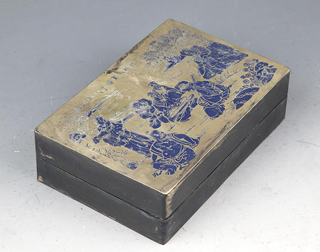 A BLUE COLOR STORY CARVING BRONZE INK BOX - 4