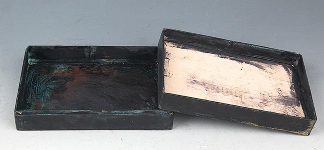 A BLUE COLOR STORY CARVING BRONZE INK BOX - 5