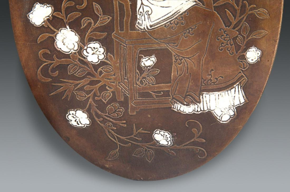 A GIRL CARVING BRONZE INK BOX - 3