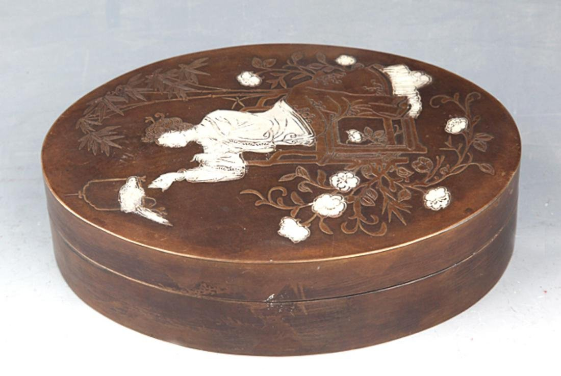 A GIRL CARVING BRONZE INK BOX - 4