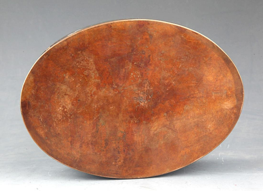 A GIRL CARVING BRONZE INK BOX - 5