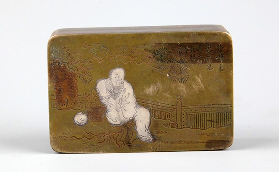 A FINE STORY CARVING BRONZE INK BOX