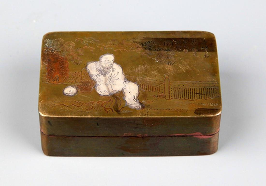 A FINE STORY CARVING BRONZE INK BOX - 2