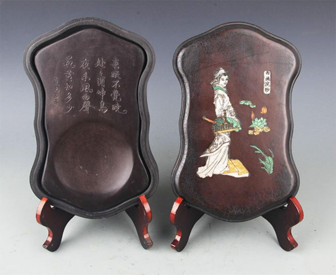 A CHINESE CARVING STONE INK WITH WOODEN BOX