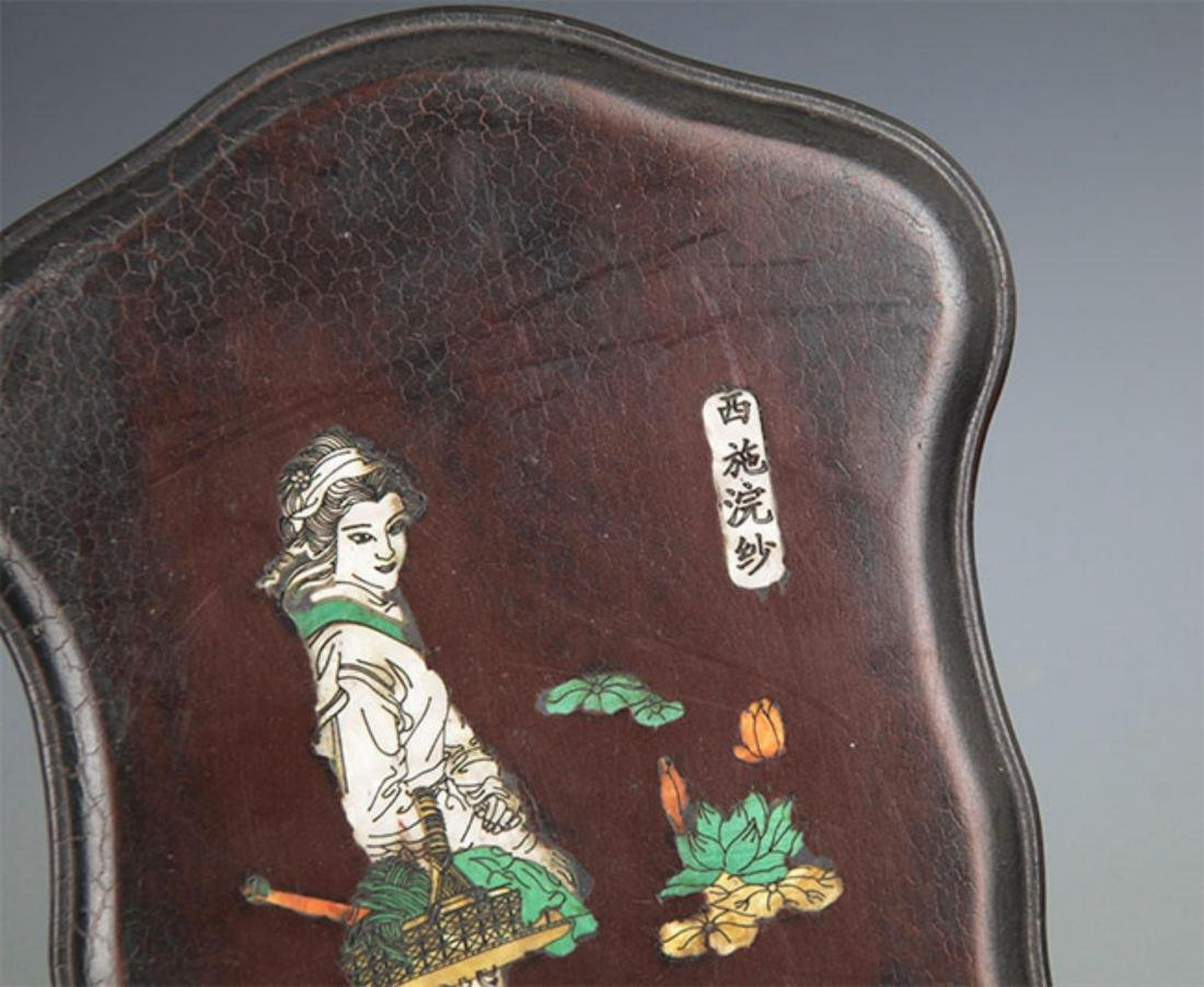 A CHINESE CARVING STONE INK WITH WOODEN BOX - 2