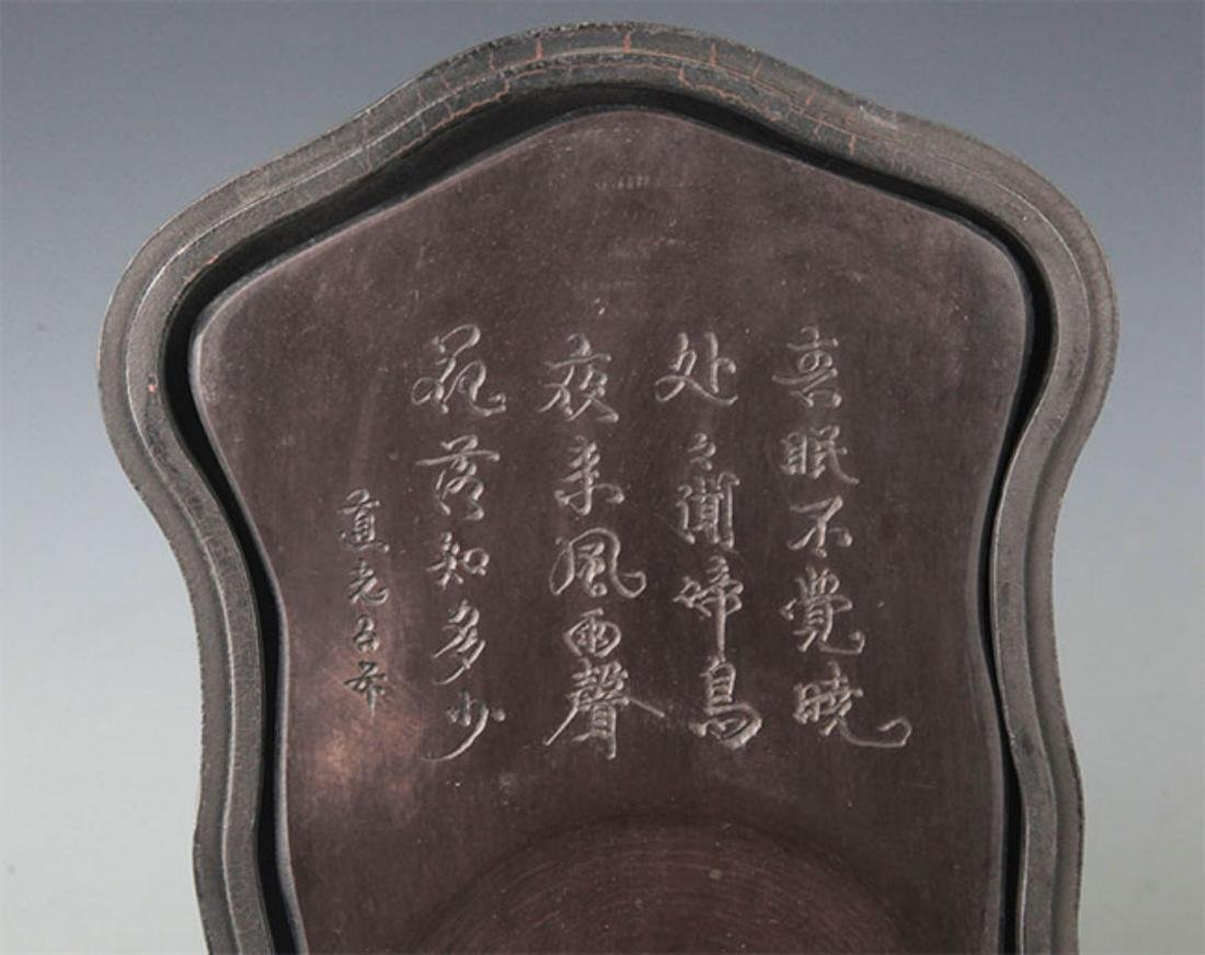 A CHINESE CARVING STONE INK WITH WOODEN BOX - 4