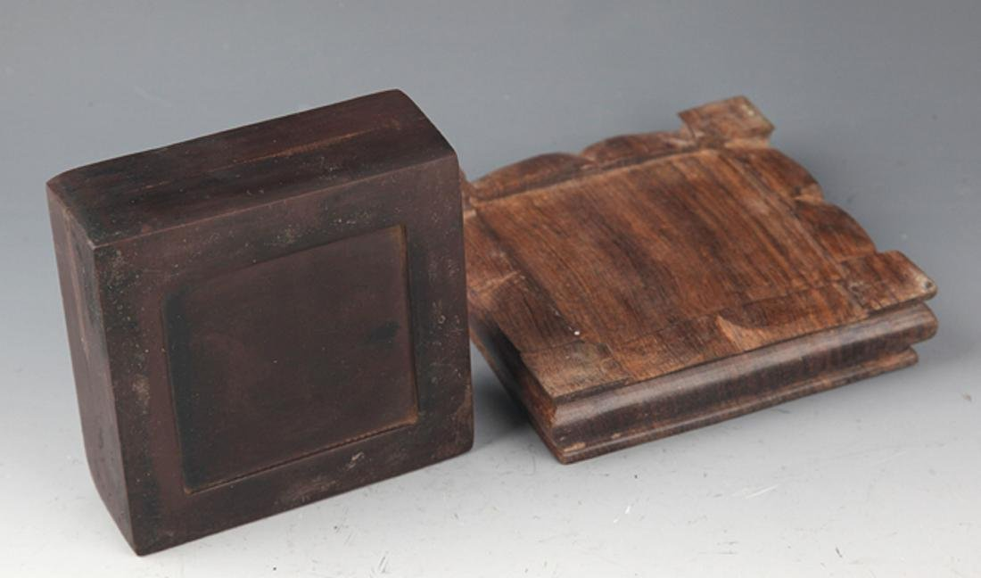 A FINELY CARVED STONE INK WITH BASE - 3