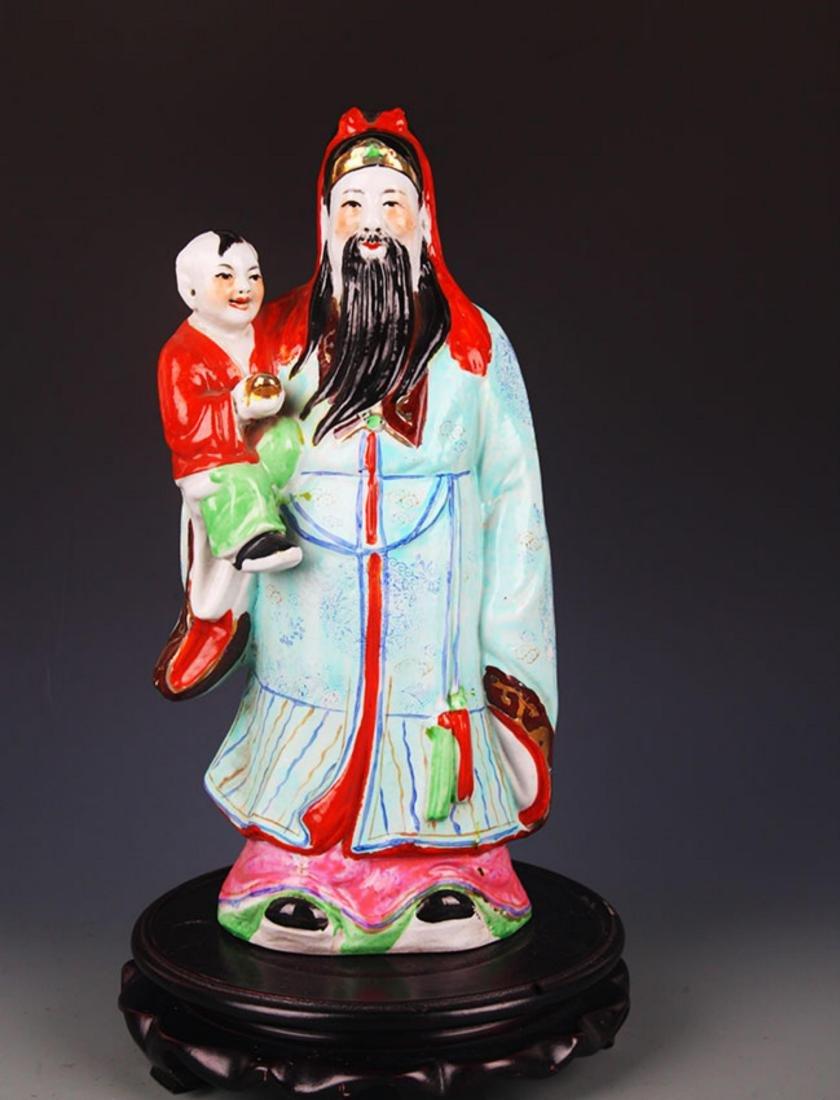 FAMILLE ROSE GOD OF WEALTH DECORATION