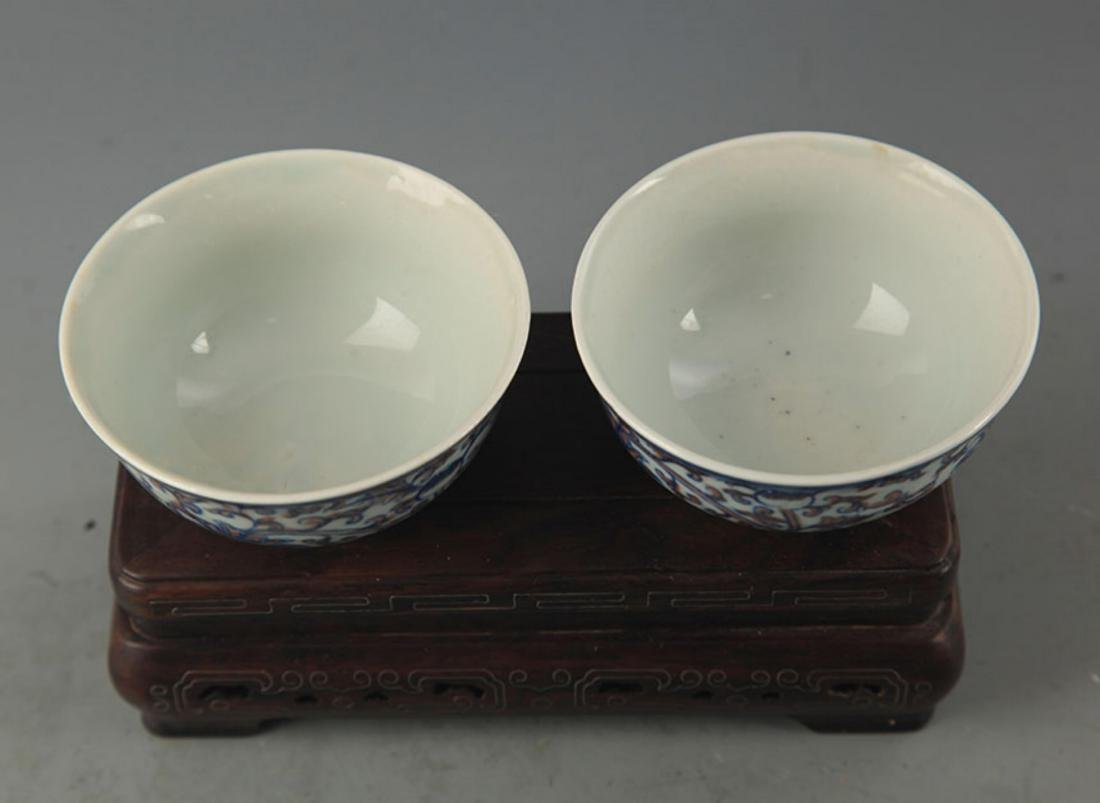 PAIR OF BLUE AND WHITE LOTUS PATTERN PORCELAIN CUP - 2