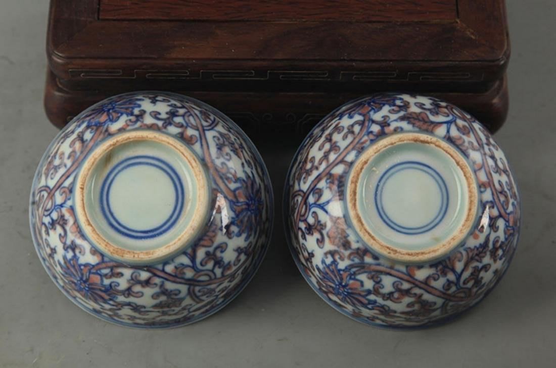 PAIR OF BLUE AND WHITE LOTUS PATTERN PORCELAIN CUP - 3