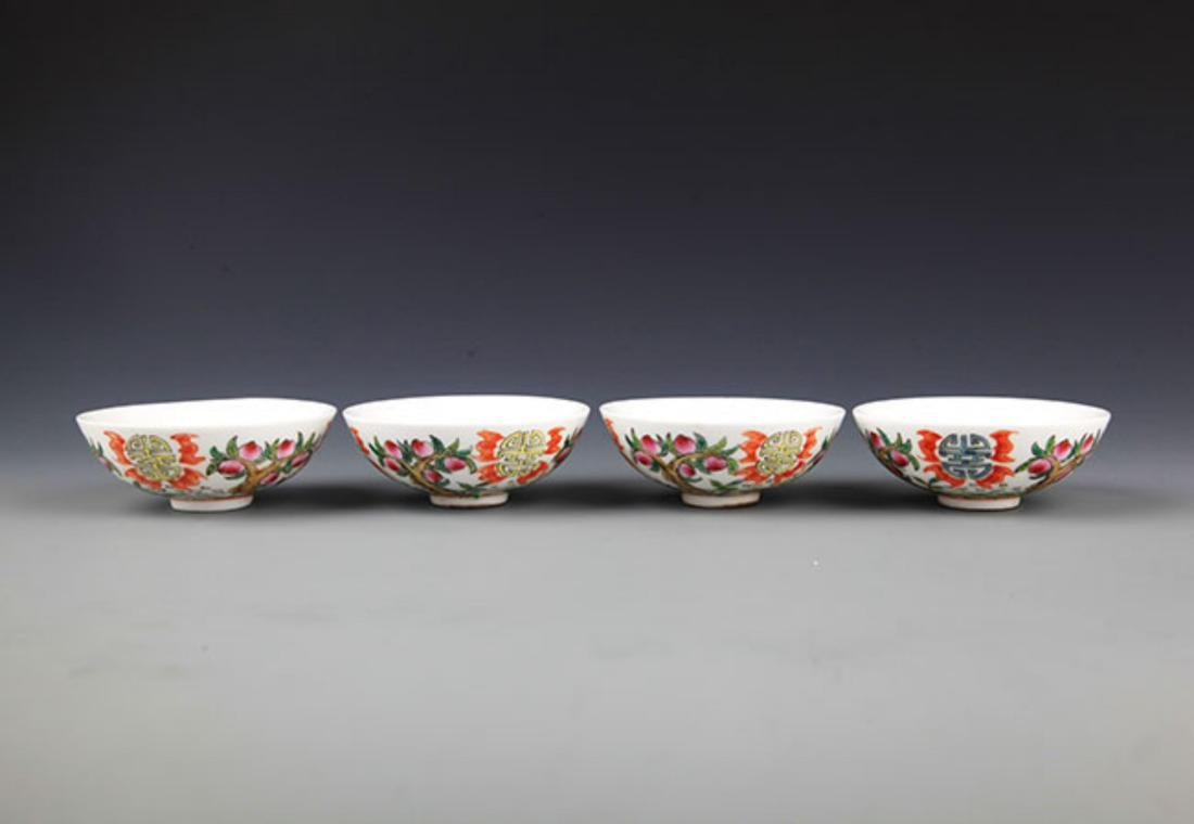 A GROUP OF FOUR FAMILLE-ROSE PORCELAIN BOWL