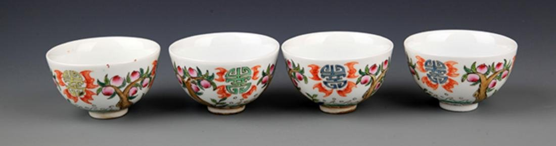A GROUP OF FIVE FAMILLE-VERTE PORCELAIN CUP