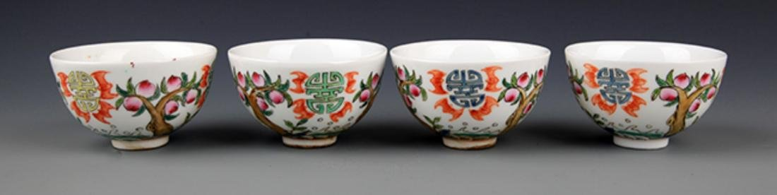 A GROUP OF FIVE FAMILLE-VERTE PORCELAIN CUP - 2