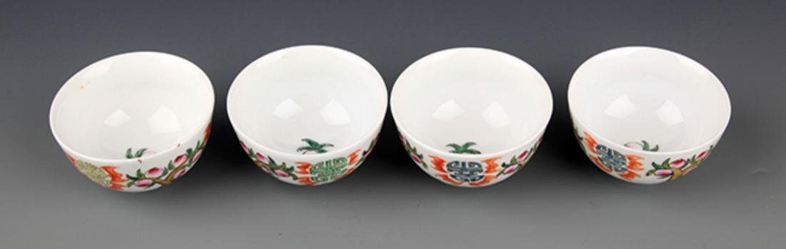 A GROUP OF FIVE FAMILLE-VERTE PORCELAIN CUP - 3