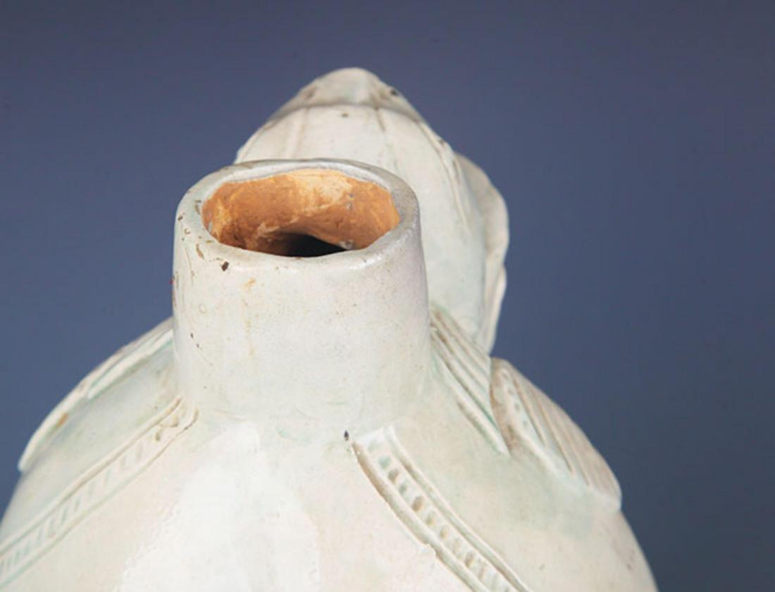 A CELADON ANIMAL HEAD THREE FEET WATER JAR - 6