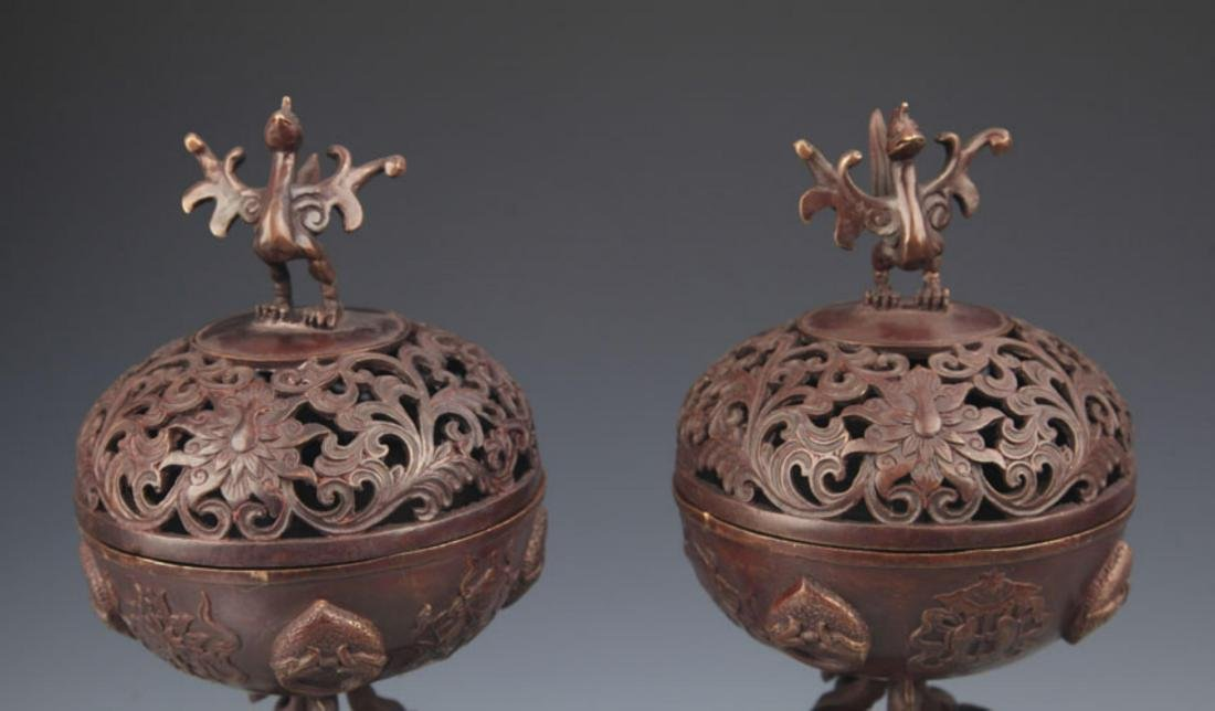 PAIR OF CHICKEN TOP BRONZE AROMATHERAPY - 3