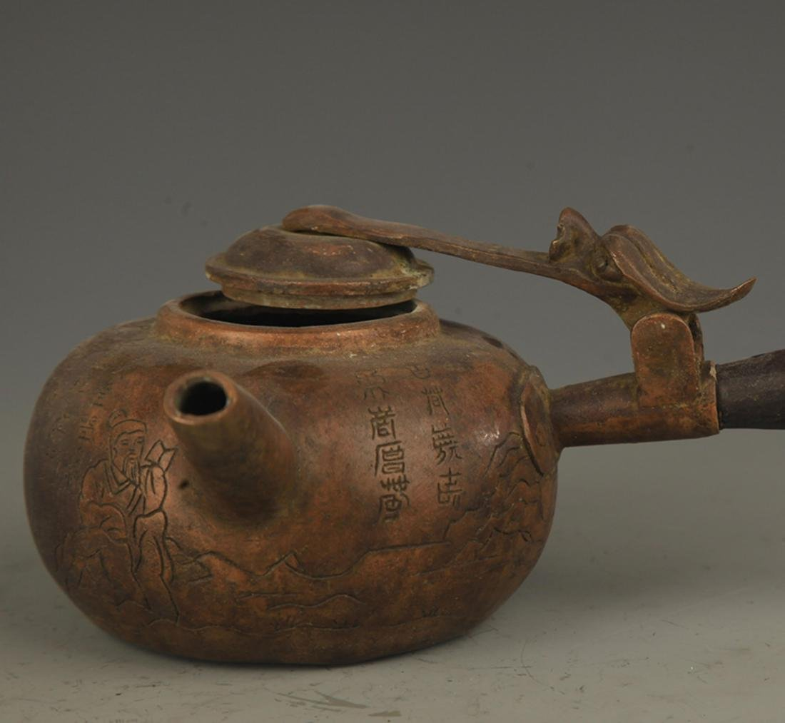 A FINE LONG HANDLE AND CARVED WATER EWER - 3