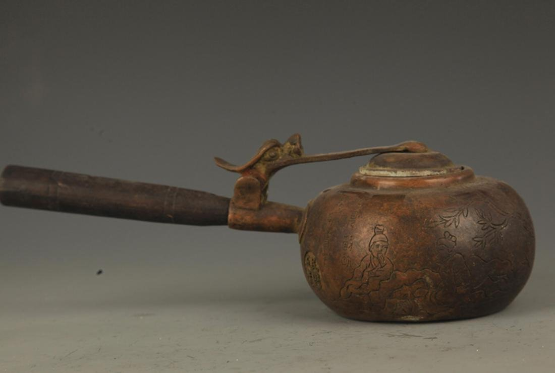 A FINE LONG HANDLE AND CARVED WATER EWER - 5