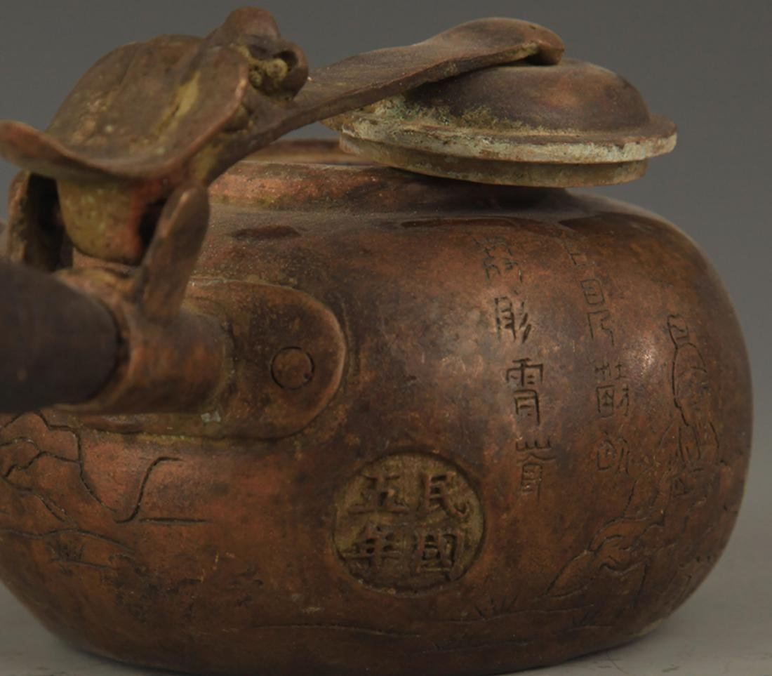 A FINE LONG HANDLE AND CARVED WATER EWER - 6