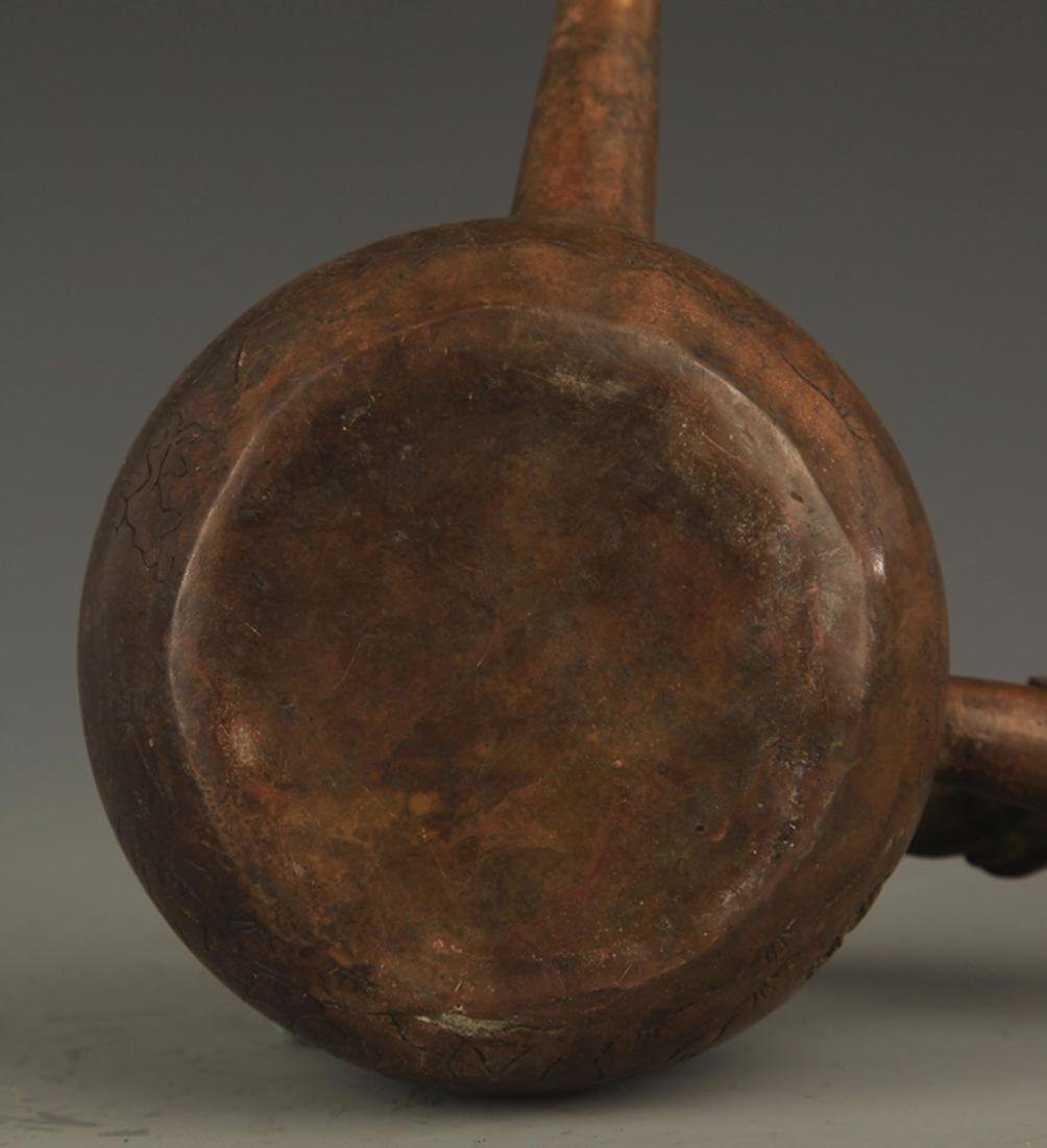 A FINE LONG HANDLE AND CARVED WATER EWER - 7