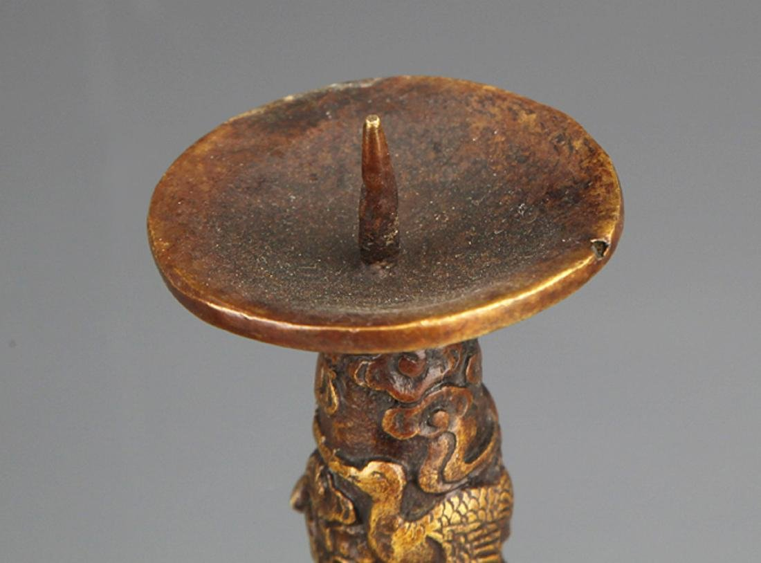 A PAIR OF ANIMAL EAR BRONZE CANDLESTICK - 2
