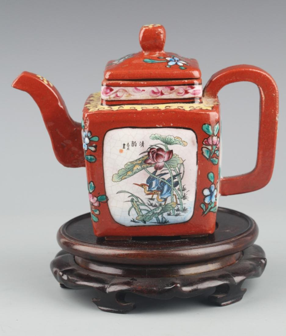A FINELY PAINTED RED COLOR PORCELAIN WATER POT