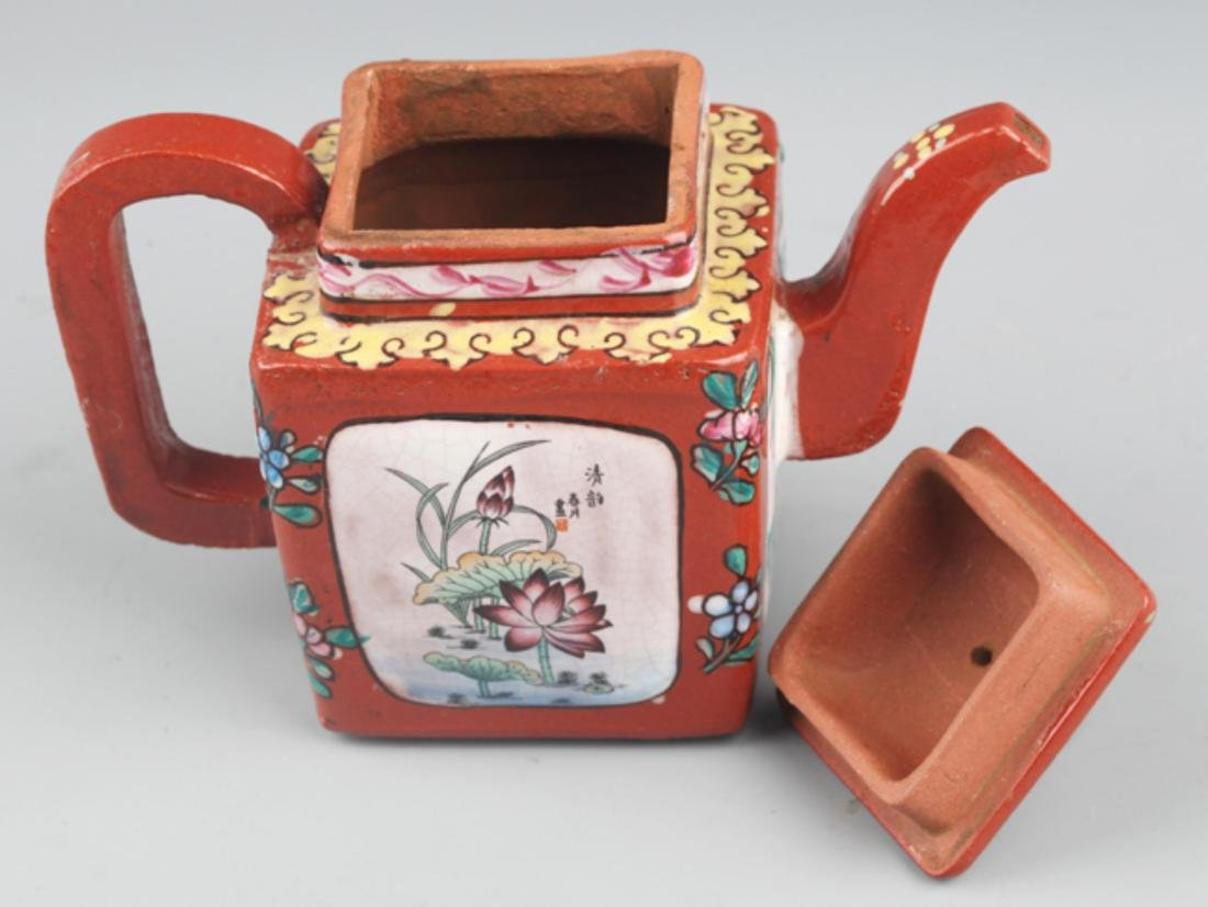 A FINELY PAINTED RED COLOR PORCELAIN WATER POT - 6
