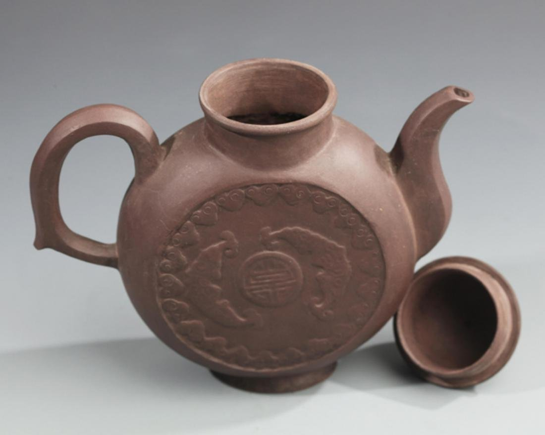A FINELY MADE ZI SHA TEAPOT WITH HANDLE - 5