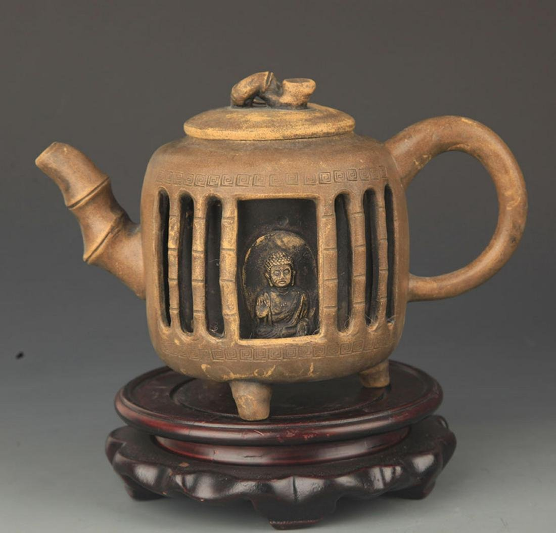 A FINE MADE SQUARE ZI SHA TEAPOT