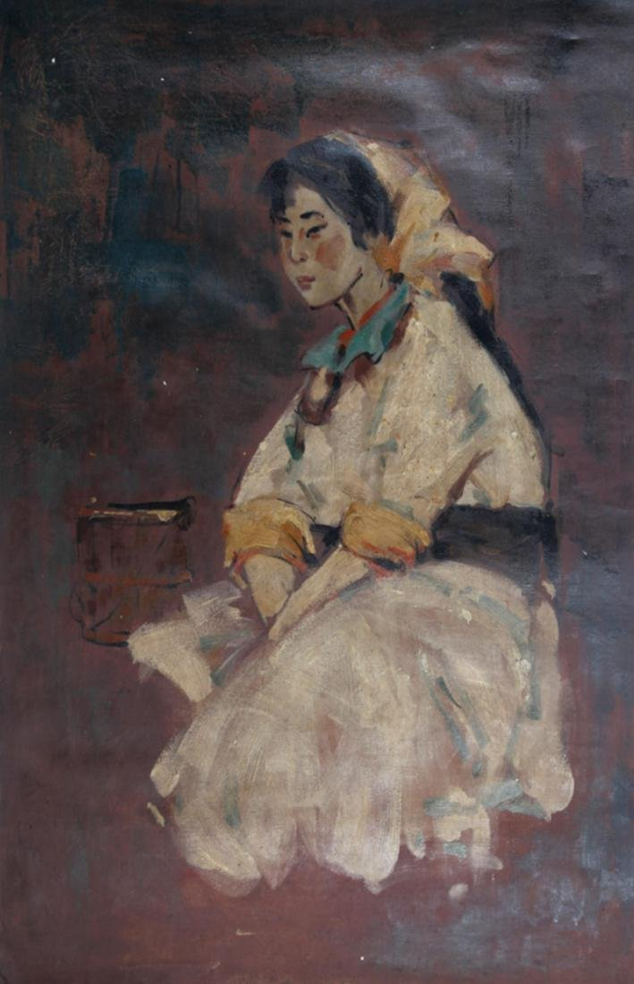 A FINE OIL PAINTING, ATTRIBUTED TO SONG JI CAI