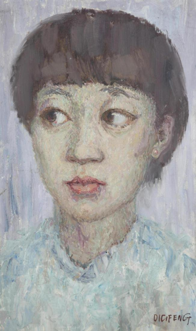 A FINE OIL PAINTING, ATTRIBUTED TO QIU LI FENG