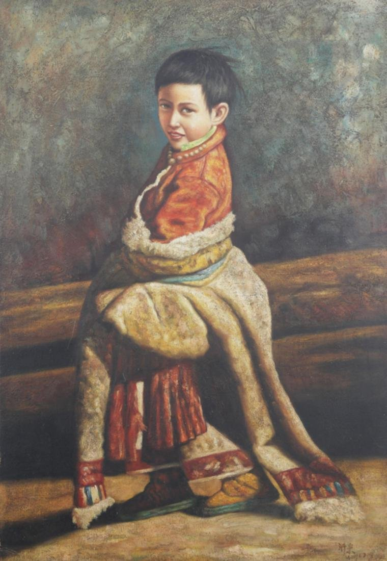 A FINE OIL PAINTING, ATTRIBUTED TO WANG ZHE DONG