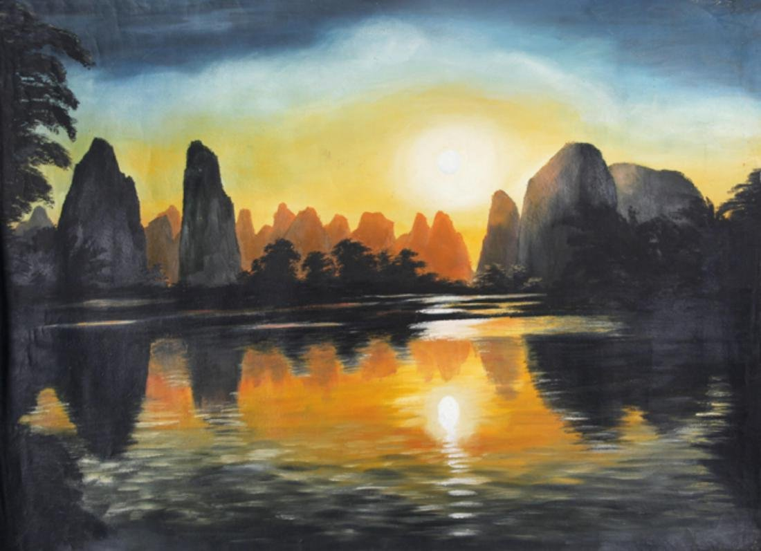 A FINE OIL PAINTING, ATTRIBUTED TO CHEN XIAO SHENG