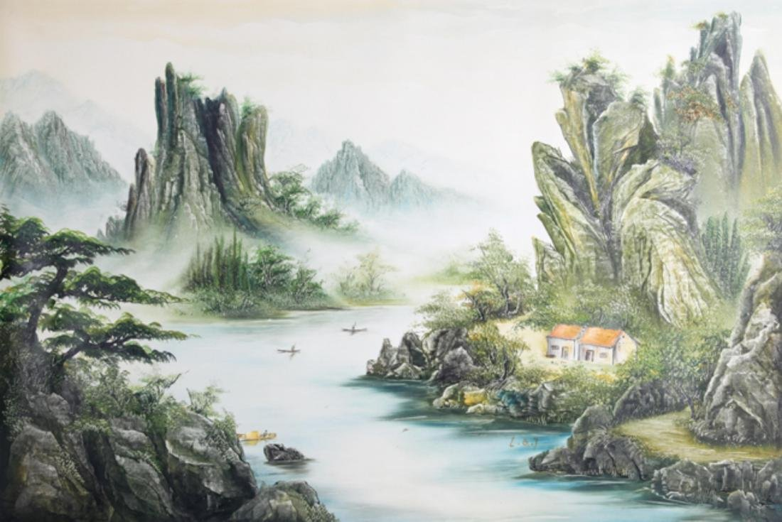 A FINE OIL PAINTING, ATTRIBUTED TO LI QING TAI