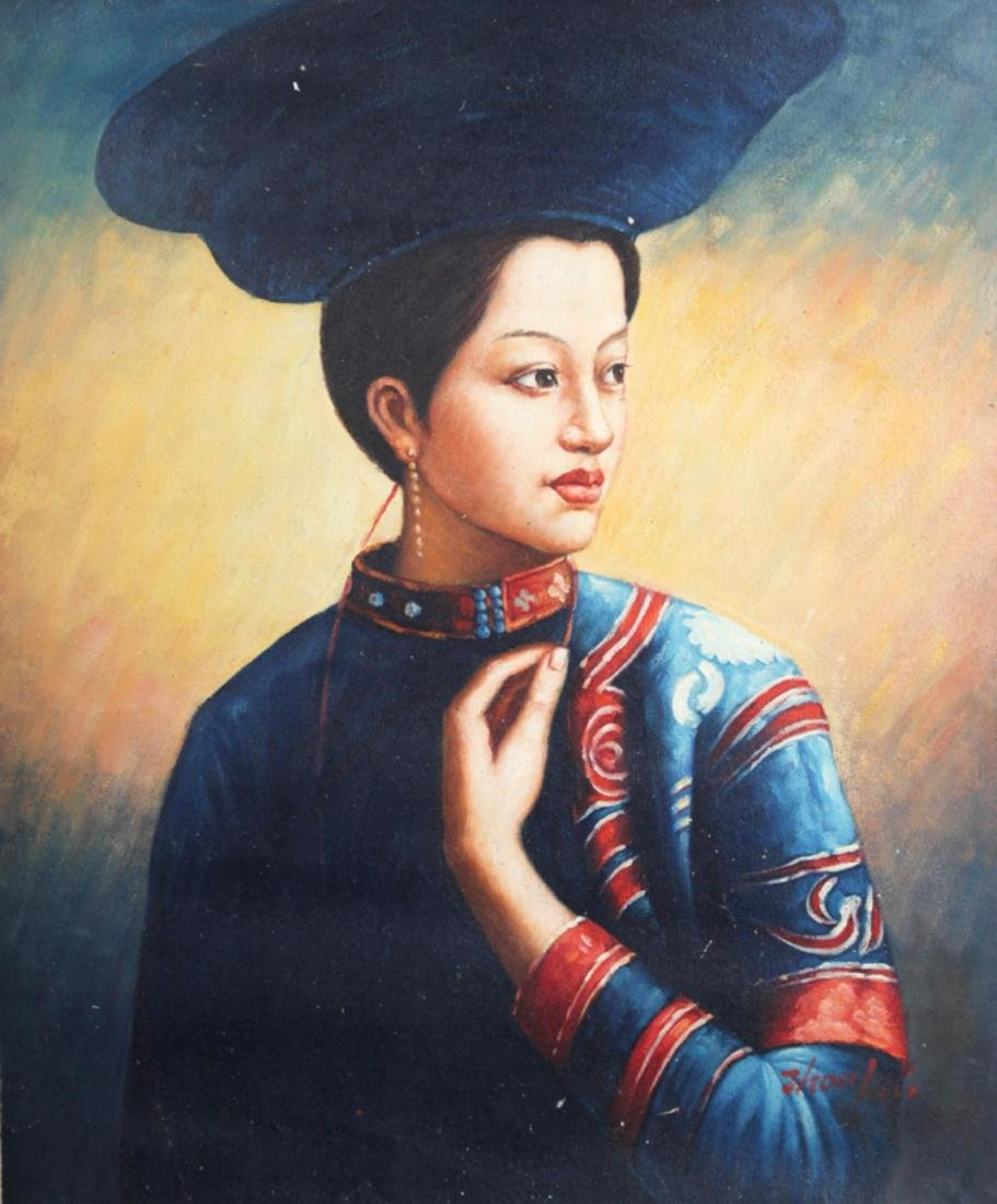 A FINE OIL PAINTING, ATTRIBUTED TO ZHOU KAI