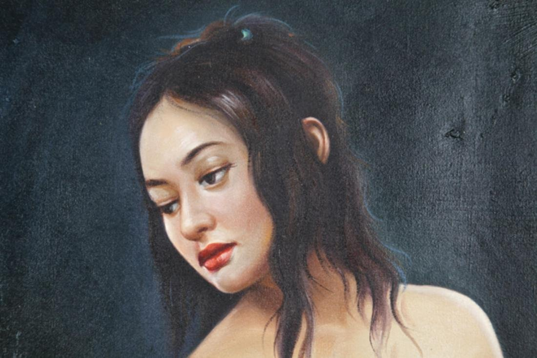 A FINE OIL PAINTING, ATTRIBUTED TO WANG LING LING - 3