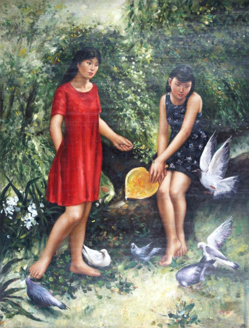 A FINE OIL PAINTING, ATTRIBUTED TO SHU YU