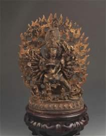 RARE TIBETAN BUDDHISM BRONZE YAMANTAKA STATUE