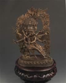 RARE TIBETAN BUDDHISM BRONZE VAJRAKILAYA MANTRA STATUE