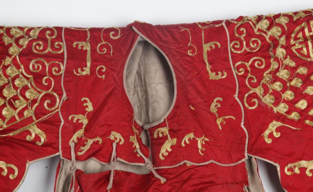 A RED COLOR FINELY EMBROIDERED WARRIOR ROBE