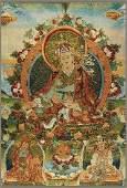 A FINE TIBETAN THANGKA PADMASAMBHAVA BUDDHA ON FABRIC