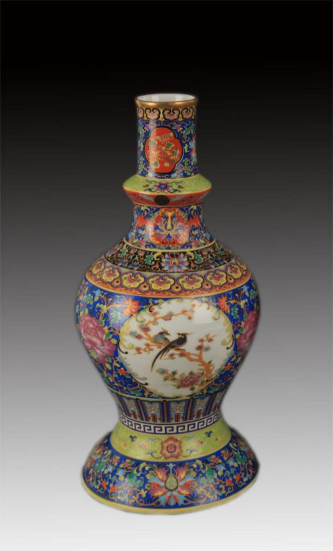 FAIENCE COLOR FLOWER AND BIRD PORCELAIN VASE