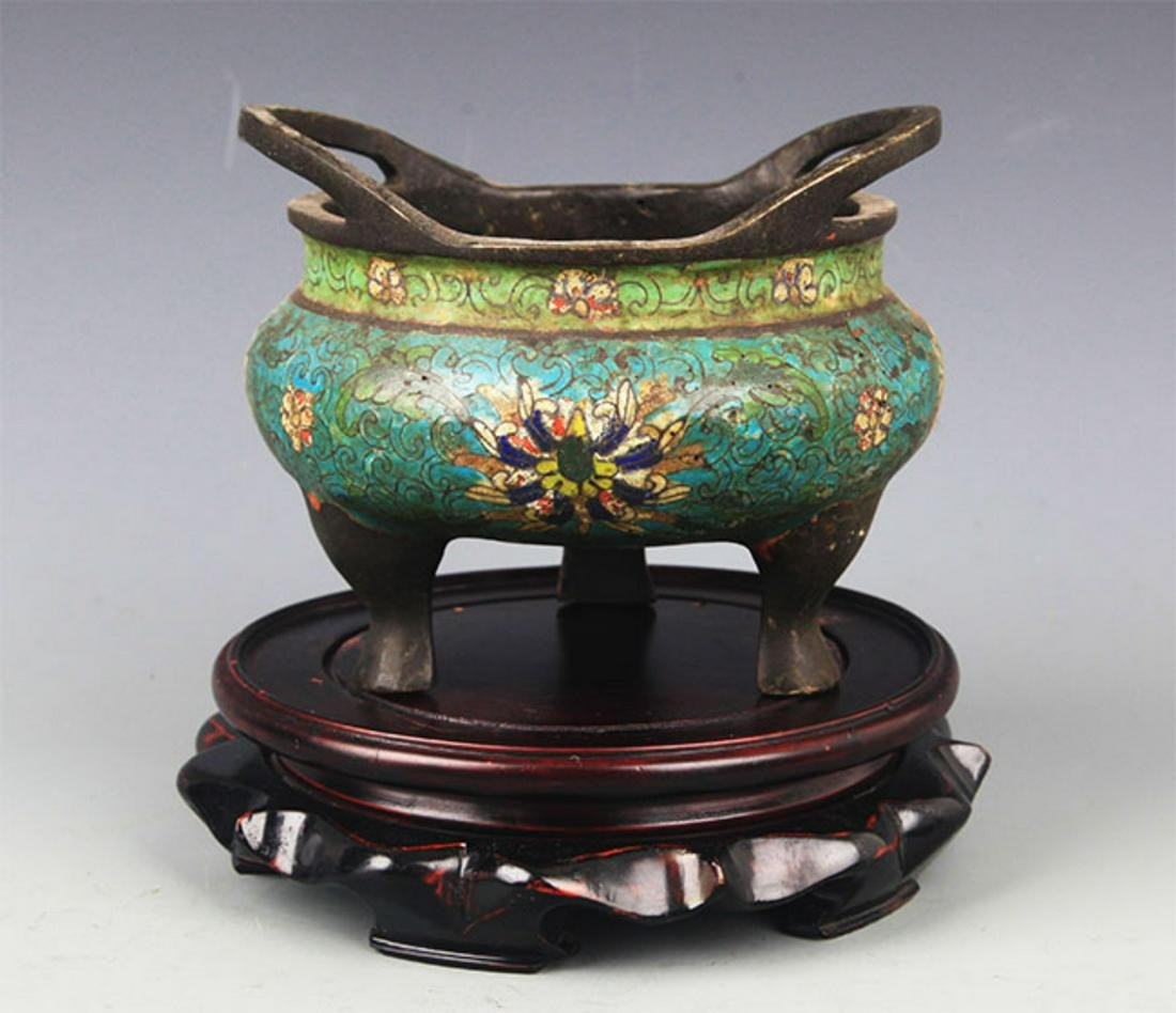 A BRONZE CLOISONNE ENAMEL DOUBLE EAR CENSER