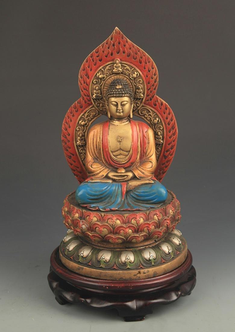 RARE COLORED BRONZE AKSHOBHYA BUDDHA STATUE